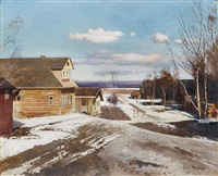 thaw in the village by andrei nikolaevich shilder