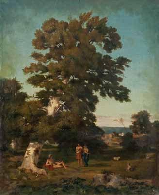 scène mythologique sous un arbre by théodore claude félix caruelle d aligny