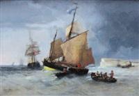 barques de pêche devant les falaises du tréport by jules achille noel