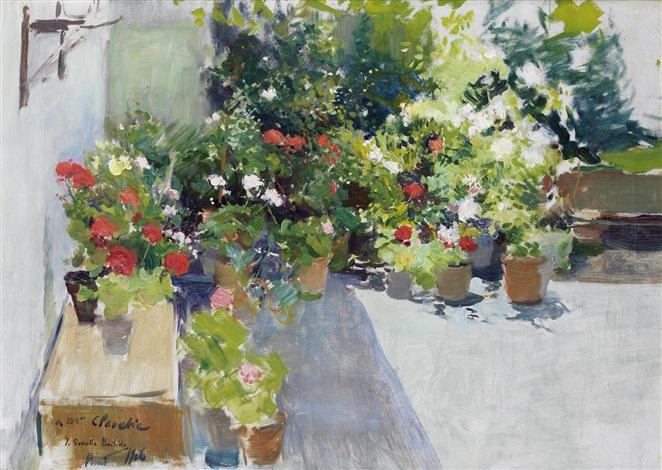 una azotea con flores by joaquin sorolla y bastida