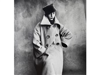 schiaparelli coat, bettina graziani (a), for vogue paris collection, 1950 by irving penn