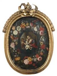 guirlande de fleurs entourant une vierge à l'enfant by andries daniels