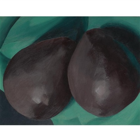 two dark alligator pears on green by georgia okeeffe