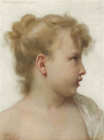 etude tête de petite fille visage de profil by william adolphe bouguereau