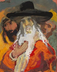 rabbi with white beard by mané-katz