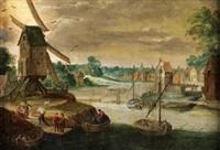 paisaje con molino y río by flemish school (17)
