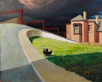 approaching storm by railway by jeffrey smart