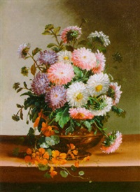 still life of chrysanthemums displayed on a ledge by pierre garnier