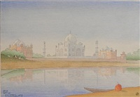 taj mahal at dawn by charles william bartlett