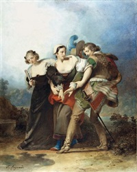 don juan, zerlina et donna elvira by alexandre-évariste fragonard