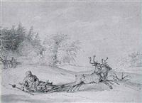 laplanders drawn by reindeer by john augustus atkinson