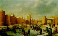 skaters, kolf players, elegant ladies and gentlemen, a horse-drawn sledge and icebound boats on a frozen moat outside kampen by barent avercamp