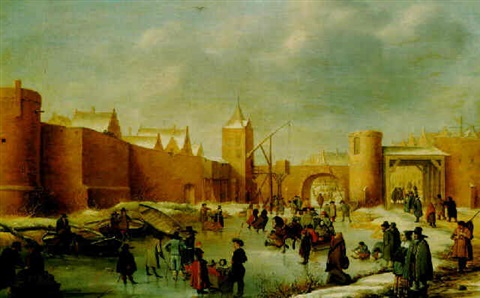 skaters kolf players elegant ladies and gentlemen a horse drawn sledge and icebound boats on a frozen moat outside kampen by barent avercamp