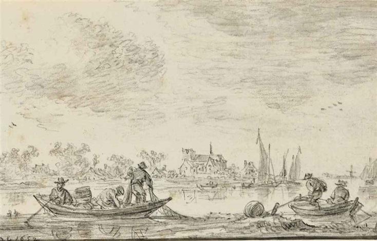 pêcheurs sur des barques des voiliers à larrière plan by jan josefsz van goyen