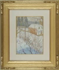from the holly house, winter, cos cob, greenwich, connecticut by elmer livingston macrae