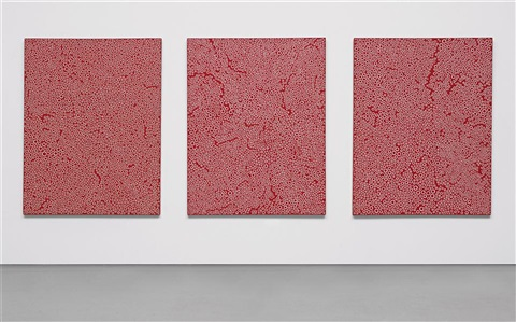 galaxy red a b c triptych by yayoi kusama