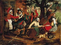 peasants chasing soldiers from an inn by david vinckboons