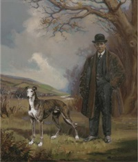 portrait of clarence hailey esq. with his greyhound at newmarket by henry basebe