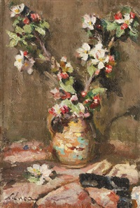 pot with apple blossom by nicolae enea