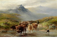 driving the herd through a highland river by george turner