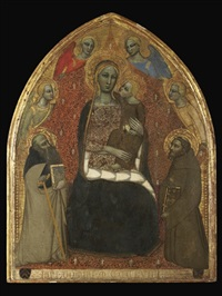 the madonna and child with saints anthony abbot and francis and four angels by niccolò di tommaso