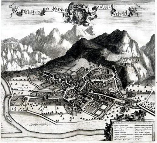 civitas sancti joannismaurianensis from theatrum statuum regiae celestudinis sabaudiae ducis by johannes de broen
