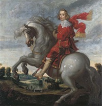 an equestrian portrait of the cardinal-infante ferdinand, an extensive river landscape beyond by pauwels van hillegaert