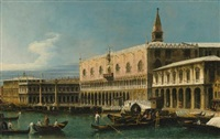 venice, a view of the molo, looking west, with the palazzo ducale and south side of the piazzetta by bernardo bellotto