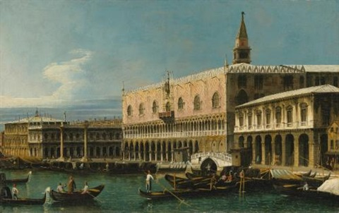 venice a view of the molo looking west with the palazzo ducale and south side of the piazzetta by bernardo bellotto