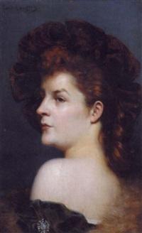 femme rousse au chapeau by paul langlois