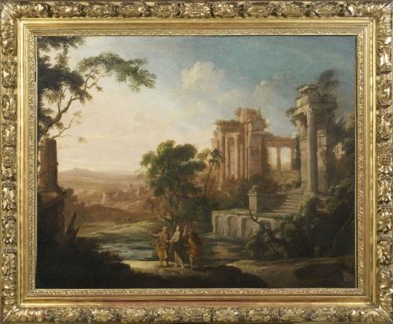 paysage avec le christ et les pèlerins demmaüs by pierre antoine patel