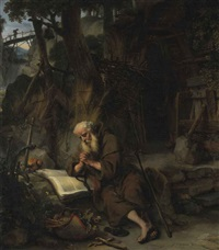 a hermit praying by gerbrand van den eeckhout