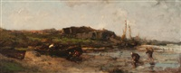 a wharf on the river by jacob henricus maris