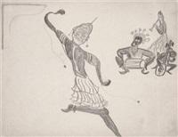 cérémonie magique en afrique noire (+ sans titre (sketch), pen and ink, verso) by rene daumal