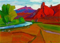 river running through red mountains by artashes abraamyan