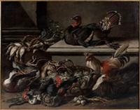 coqs, poules, canard et dindon dans une basse-cour by jacob van der kerckhoven