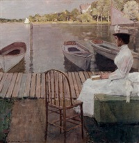 evening by the lake by william sullivant vanderbilt allen