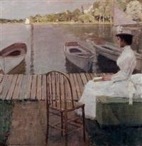 evening by the lake by william sullivant vanderbilt allen