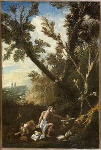 saint jérôme dans un paysage by giovanni (giambattista) peruzzini