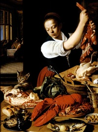 a kitchen interior with a maid preparing meat and gentlemen drinking at a table beyond by jeremias van winghe