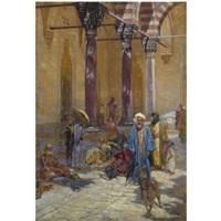 oriental scene in a mosque's precinct by symeon sabbides