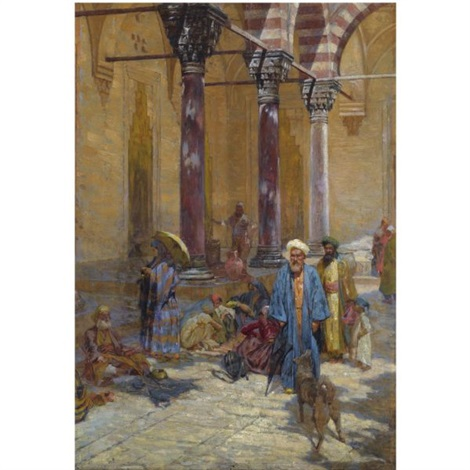 oriental scene in a mosques precinct by symeon sabbides