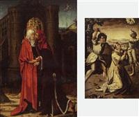 la rencontre devant la porte dorée by jan (joannes sinapius) mostaert