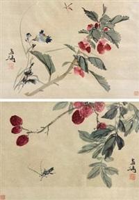 花卉草虫 (一对) (pair) by wang xuetao