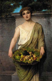 fruit seller, maiden in classical robes with basket of fruit by attilio baccani