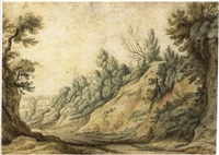 a wooded landscape by pauwels van hillegaert