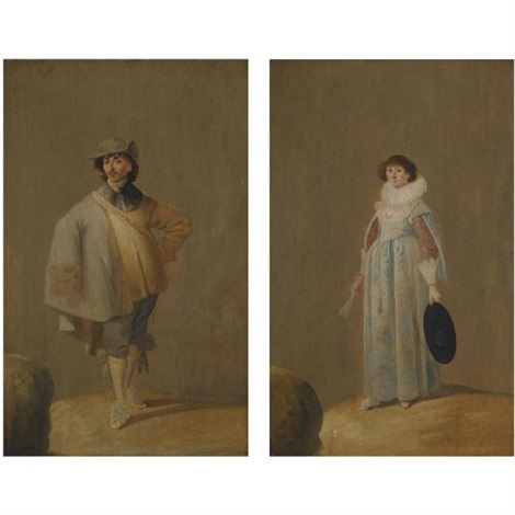 a portrait of a gentleman wearing a hat and a fur trimmed cape a portrait of a lady in a blue dress with a lace ruff pair by jan le ducq