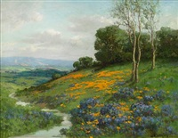 early spring, sonoma, california poppies and lupine by william franklin jackson