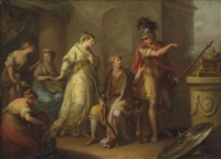 hector upbraiding paris for his retreat from battle by angelika kauffmann