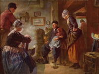 grandfathers visit, volendam by carl (karl) jacoby